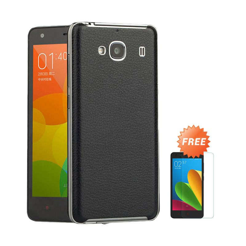 Sunrise Backcase Leather Black Casing for Redmi 2S + Tempered Glass