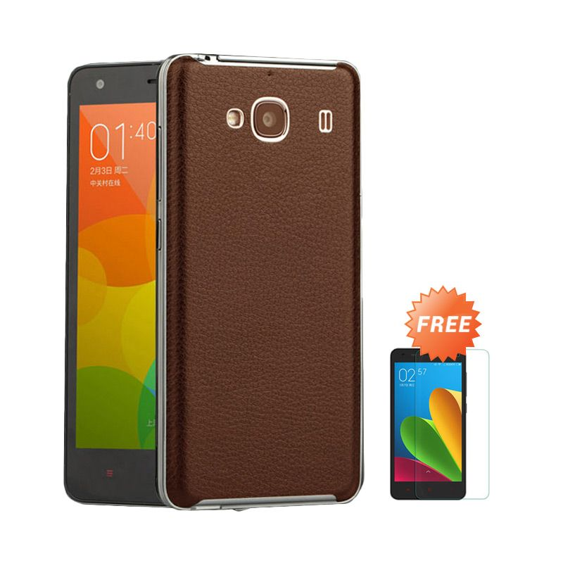 Sunrise Backcase Leather Brown Casing for Redmi 2 Prime + Tempered Glass