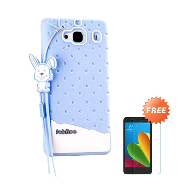 Sunrise Fabitoo Soft Biru Casing for Redmi 2 Prime + Tempered Glass