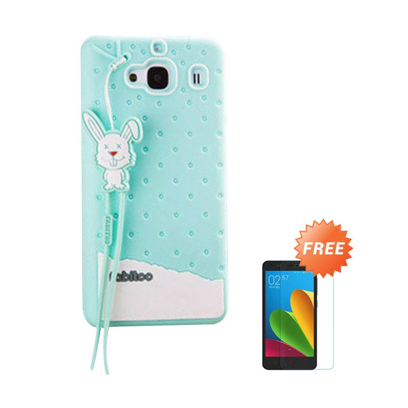Sunrise Fabitoo Hijau Tosca Soft Case Casing for Redmi 2S + Tempered Glass Screen Protector