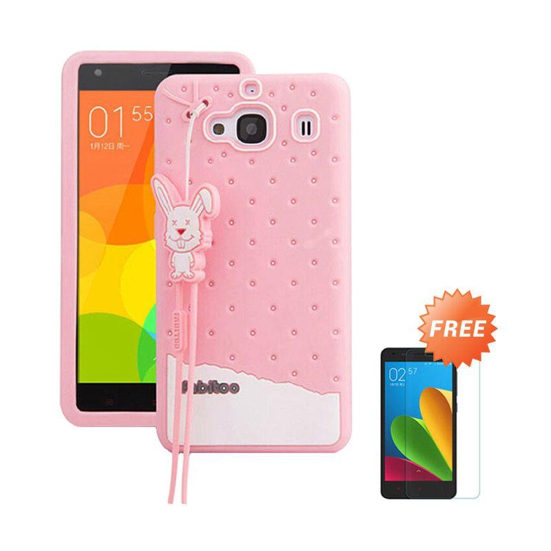 Sunrise Fabitoo Soft Pink Casing for Redmi 2 Prime + Tempered Glass
