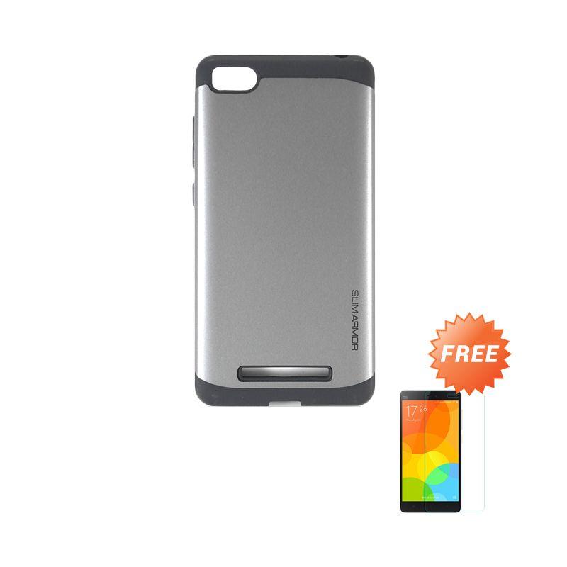 Sunrise Slim Armor Grey Hard Case Casing for Xiaomi MI4i + Tempered Glass Screen Protector