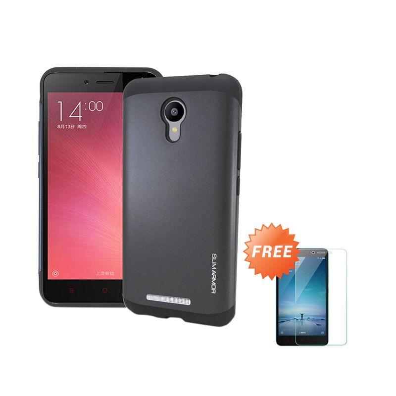 Sunrise Mirror Backcase Bumper Black Casing for Xiaomi Redmi Note 2 + Tempered Glass