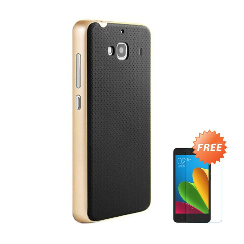 Sunrise Neo Hybrid Gold Casing for Redmi 2S + Tempered Glass Screen Protector