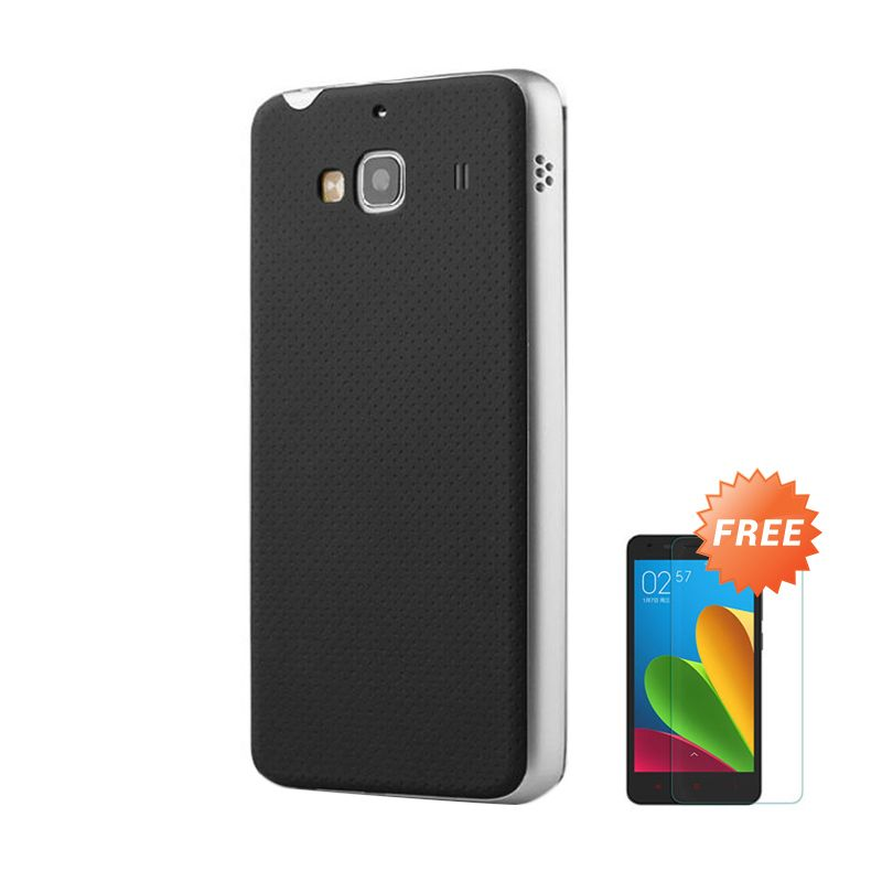 Sunrise Neo Hybrid Silver Casing for Redmi 2S + Tempered Glass Screen Protector