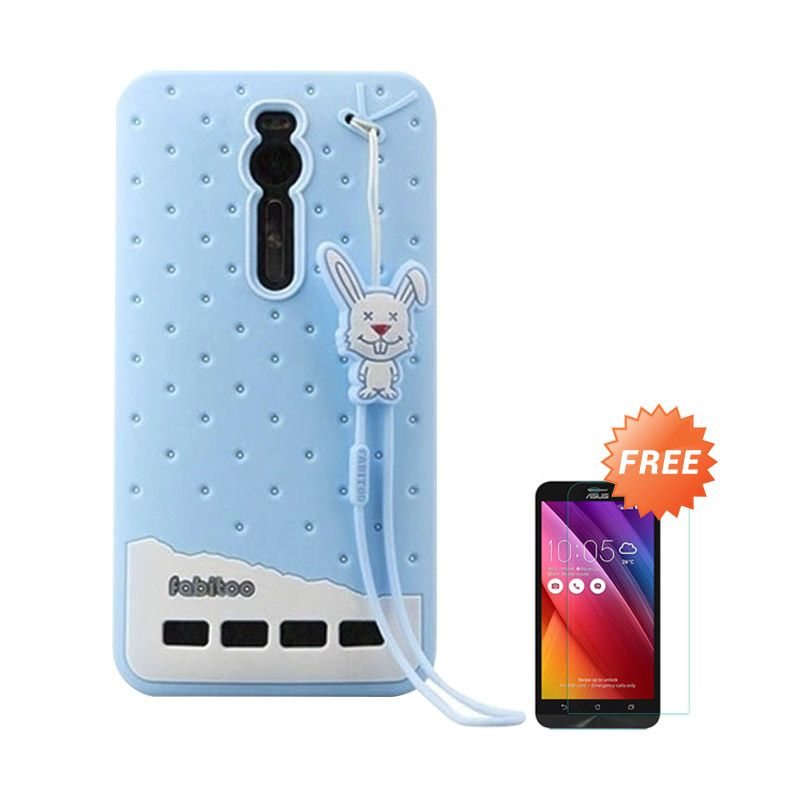 Sunrise Soft Fabitoo Biru Casing for Zenfone 2 ZE551ML/ZE550ML 5.5 Inch + Tempered Glass Screen Protector
