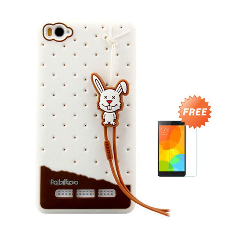 Sunrise Fabitoo Putih Soft Case for Casing MI4i + Tempered Glass Screen Protector
