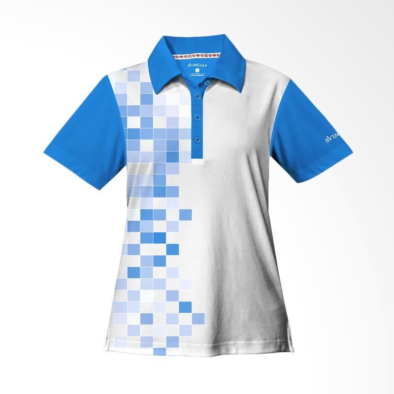 Svingolf 8 Bit Polo Aqua Blue Baju Golf Wanita