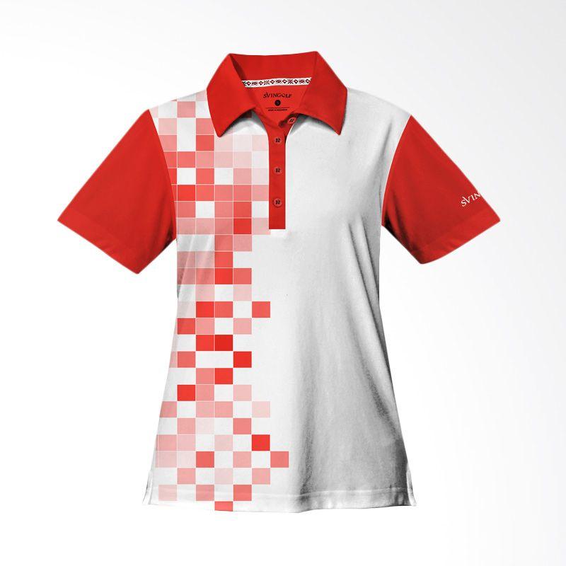 Svingolf 8 Bit Polo Flag Red Baju Golf Wanita