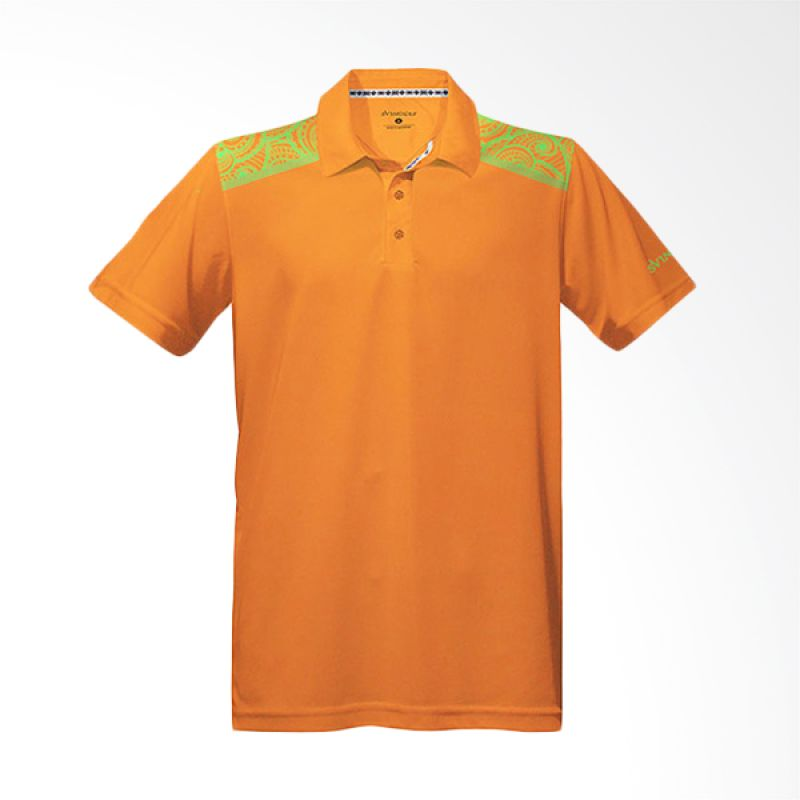 Svingolf Batik Floral Polo Neon Orange Baju Golf