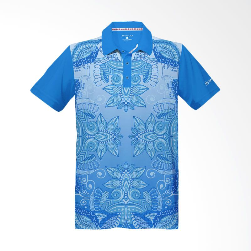 Svingolf Batik Lotus Polo Aqua Blue Baju Golf