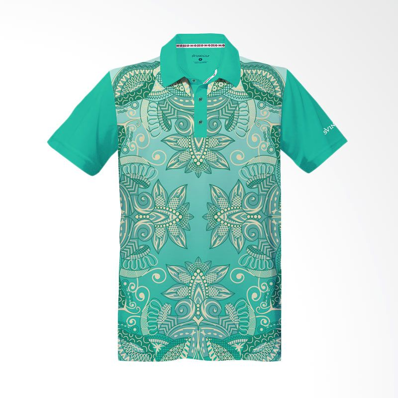 Svingolf Batik Lotus Polo Green Mint Baju Golf
