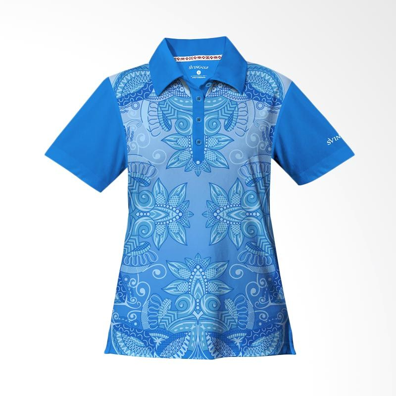 Svingolf Batik Lotus Polo Aqua Blue Baju Golf Wanita