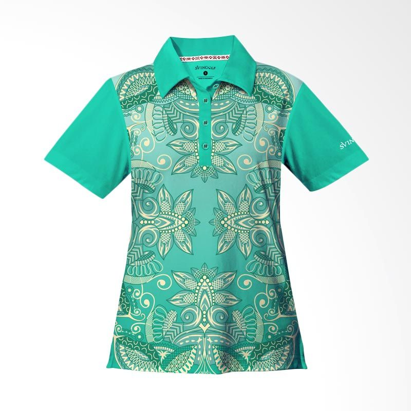 Svingolf Batik Lotus Polo Green Mint Baju Golf Wanita