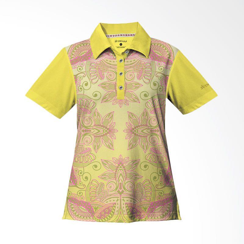 Svingolf Batik Lotus Polo Lemon Baju Golf Wanita