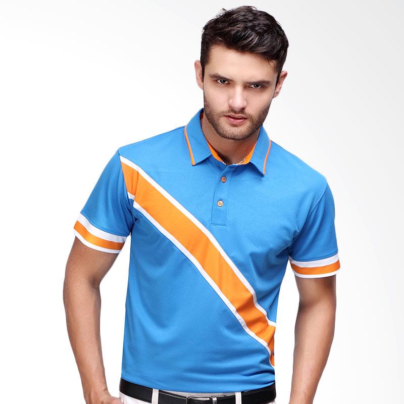 Svingolf Edd Polo Baju Golf - Dusk Blue/Mandarin Orange
