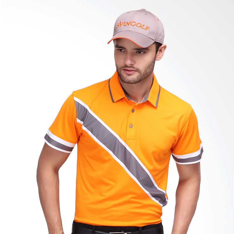 Svingolf Edd Polo Baju Golf - Mandarin Orange/Titanium Grey