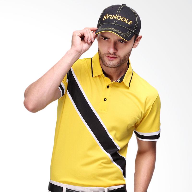 Svingolf Edd Polo Baju Golf - Yellow Sunshine/Black