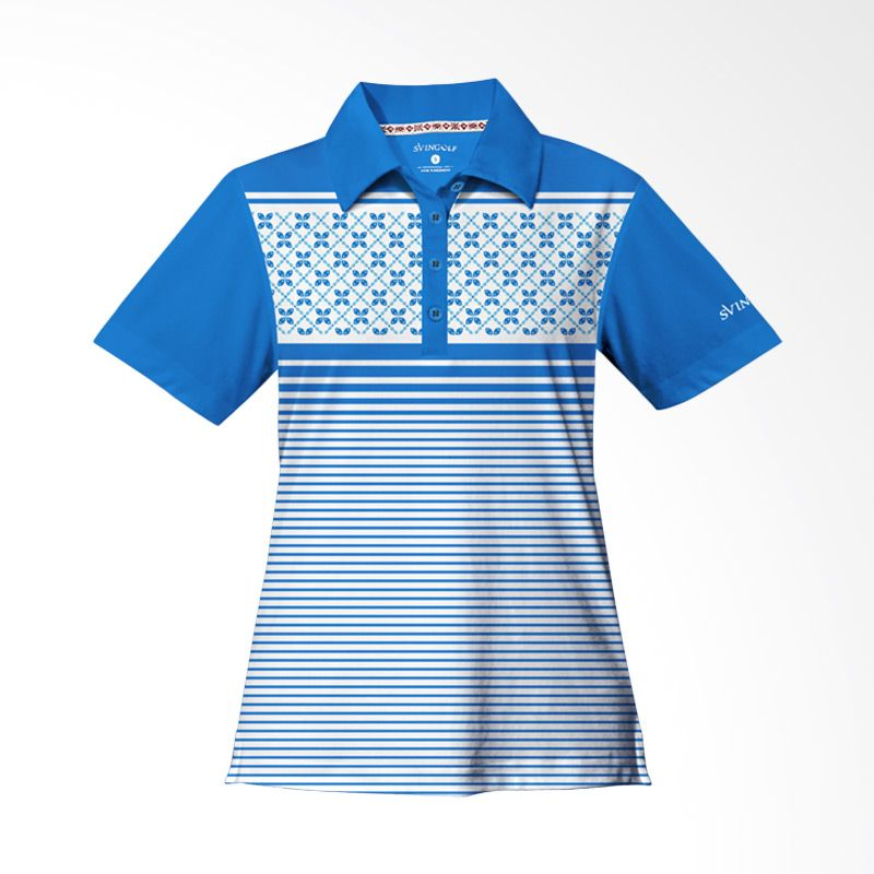Svingolf Kawung Stripes Polo Aqua Blue Baju Golf Wanita