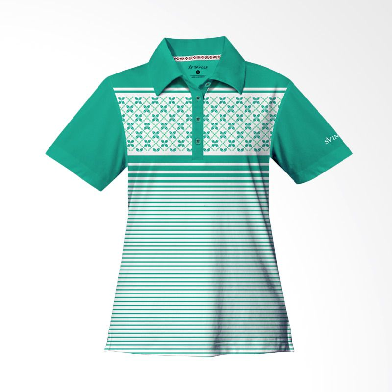 Svingolf Kawung Stripes Polo Green Mint Baju Golf Wanita