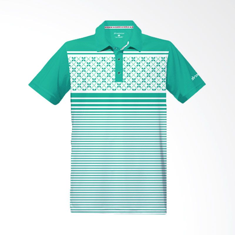 Svingolf Kawung Stripes Polo Green Mint Baju Golf