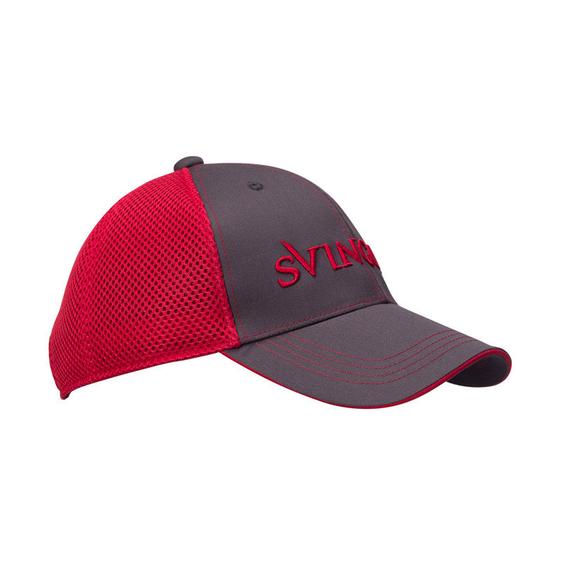 Svingolf Mesh Cap Topi Golf - Charcoal Black/Red