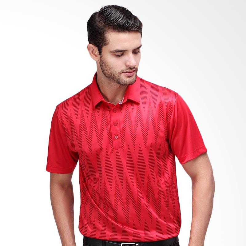 Svingolf Tenun Polo Baju Golf - Flag Red