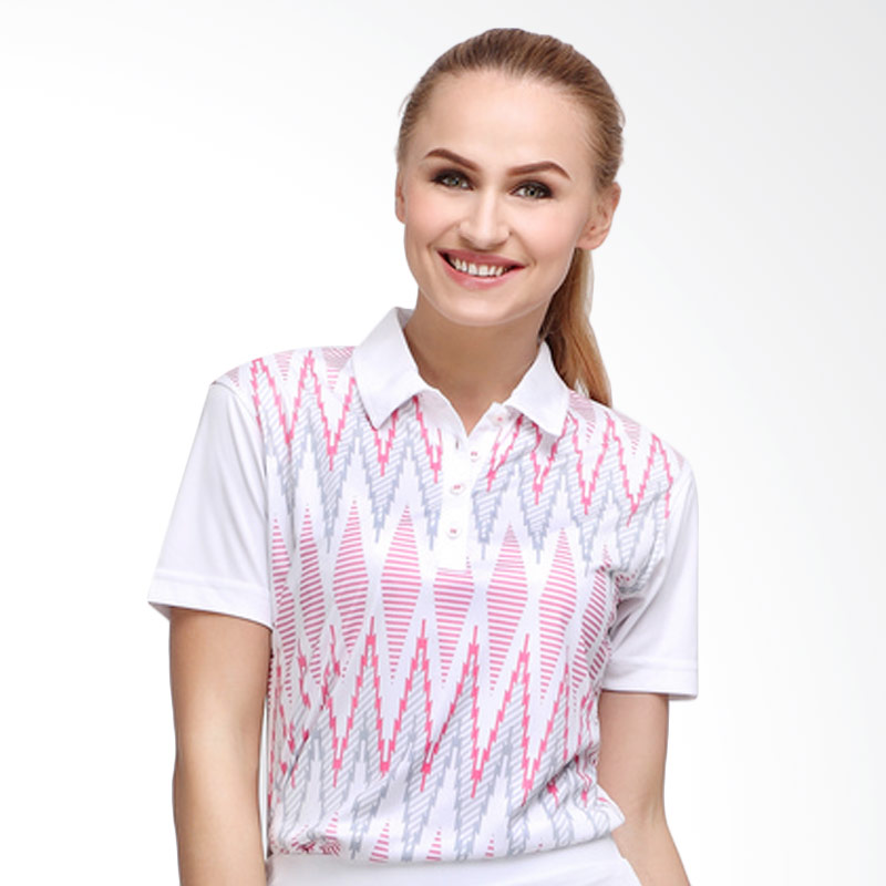 Svingolf Tenun Polo Baju Golf - White Dusk Pink