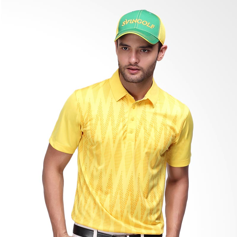 Svingolf Tenun Polo Baju Golf - Yellow Sunshine