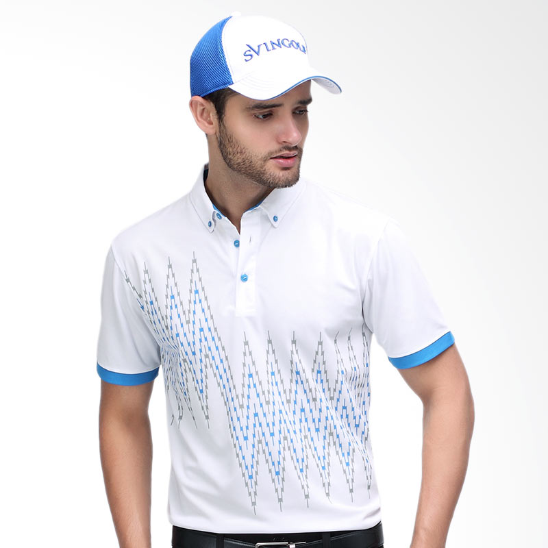 Svingolf Zap Polo Baju Golf - White Dusk Blue