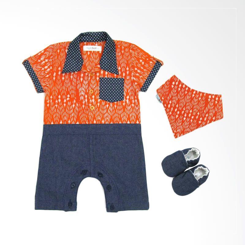 Sweet Batik Romper Boy Orange Jumpsuit Bayi [Gift Set]
