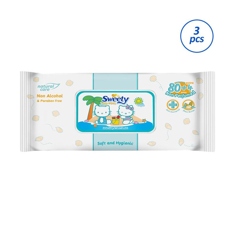 Sweety Wet Wipes Tisu Basah [80 + 4 - 3 pack]
