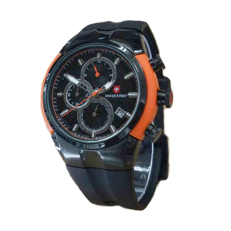 Swiss Army Chrono Rubber Jam Tangan Pria - Black Orange