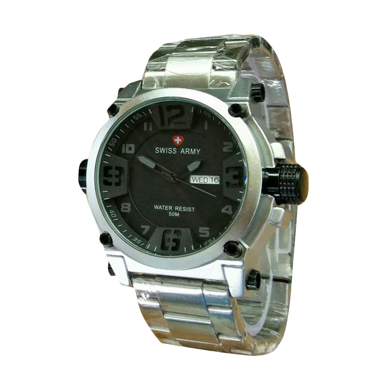 Swiss Army Dual Time Jam Tangan Pria Sa 1502 Full Black Stainless Source . Source .