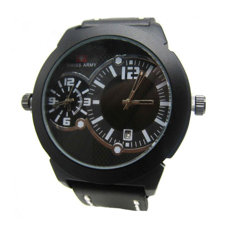 Swiss Army SA Dual Time Jam Tangan Pria - Black White