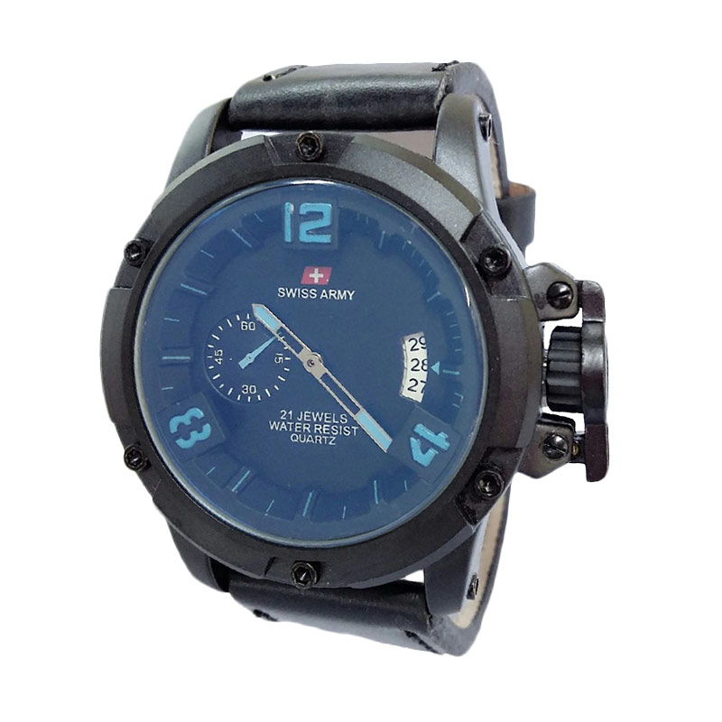 Swiss Army SA1353BB Leather Jam Tangan Pria