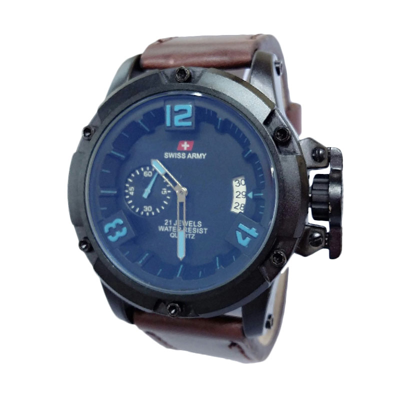 Swiss Army SA1353DBB Leather Jam Tangan Pria