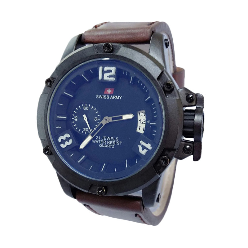 Swiss Army SA1353DBW Leather Jam Tangan Pria