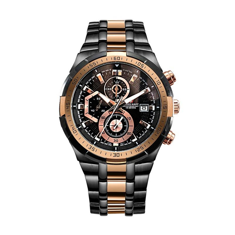 Swiss Navy 8825-Rose Gold Navy Pro Chronograph Jam Tangan Pria