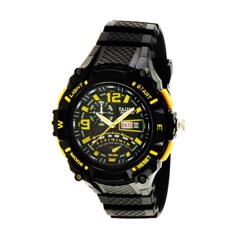 Tajima 5036 GD A04 Analog Watch Date Rubber Jam Tangan Pria - Yellow