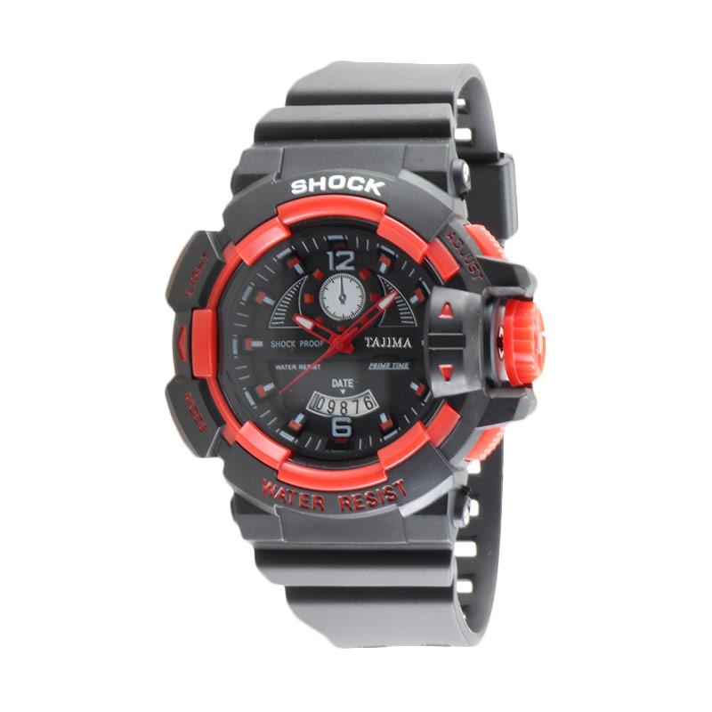 Tajima 5041 GD A04 Analog Watch Rubber Jam Tangan Pria - Red