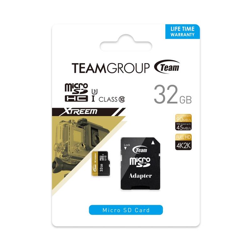 harga Team MicroSD XTREEM U3 Memory Card Plus Adapter [32 GB/Support 4K] Blibli.com