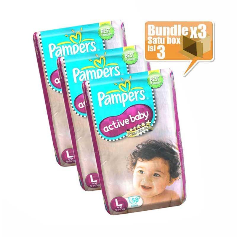 Telkomsel Poin - Pampers Active Baby Taped Jumbo Pack L 58 Popok Bayi [Karton isi 3pcs/400 Poin]