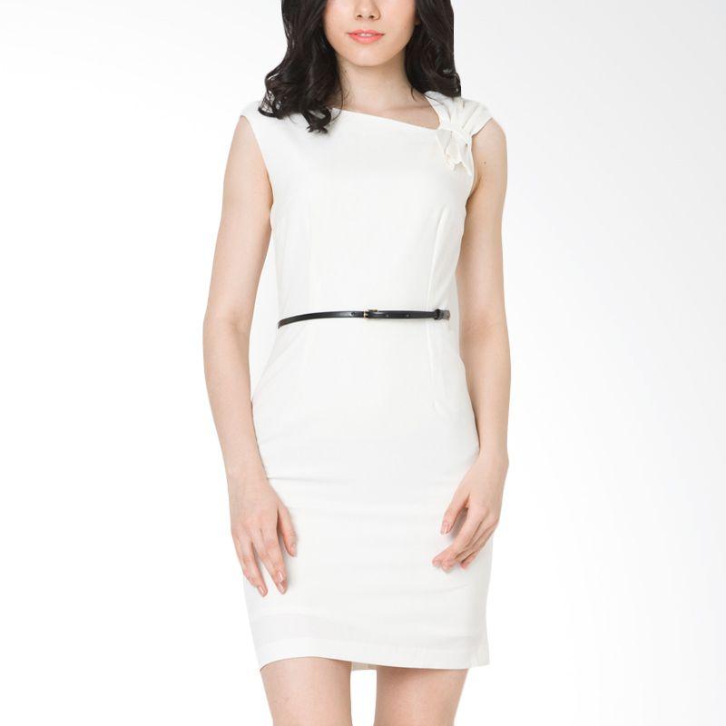 The Executive DRC-205-5114-15 Off White Midi Dress