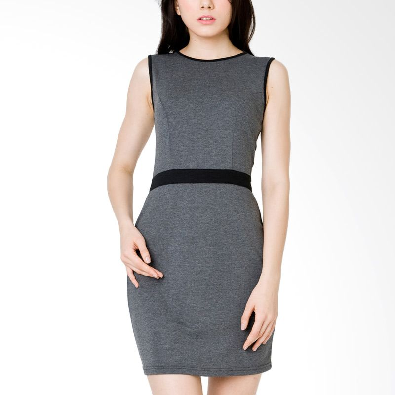 The Executive DRTX-110-521115 Misty Grey Midi Dress