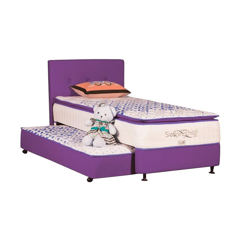 The Luxe 2 in 1 Sleeping Child Pillow Top Kasur - Purple [Full Set]