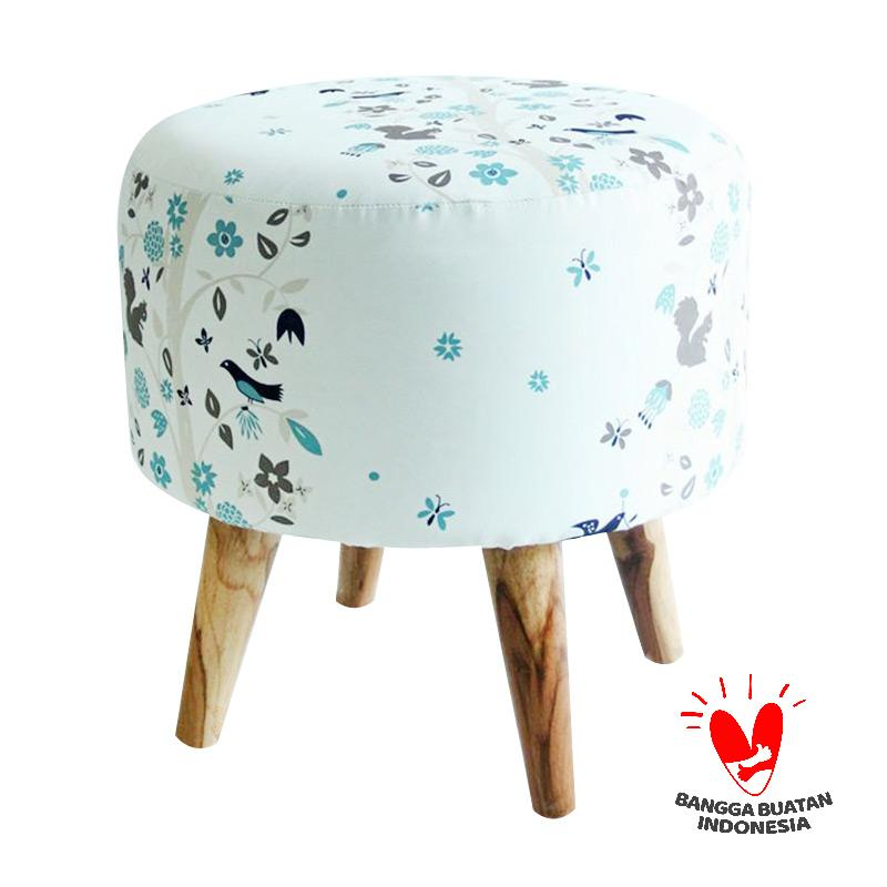 Ayoyoo Bird and Squirrel Moon Stool - White