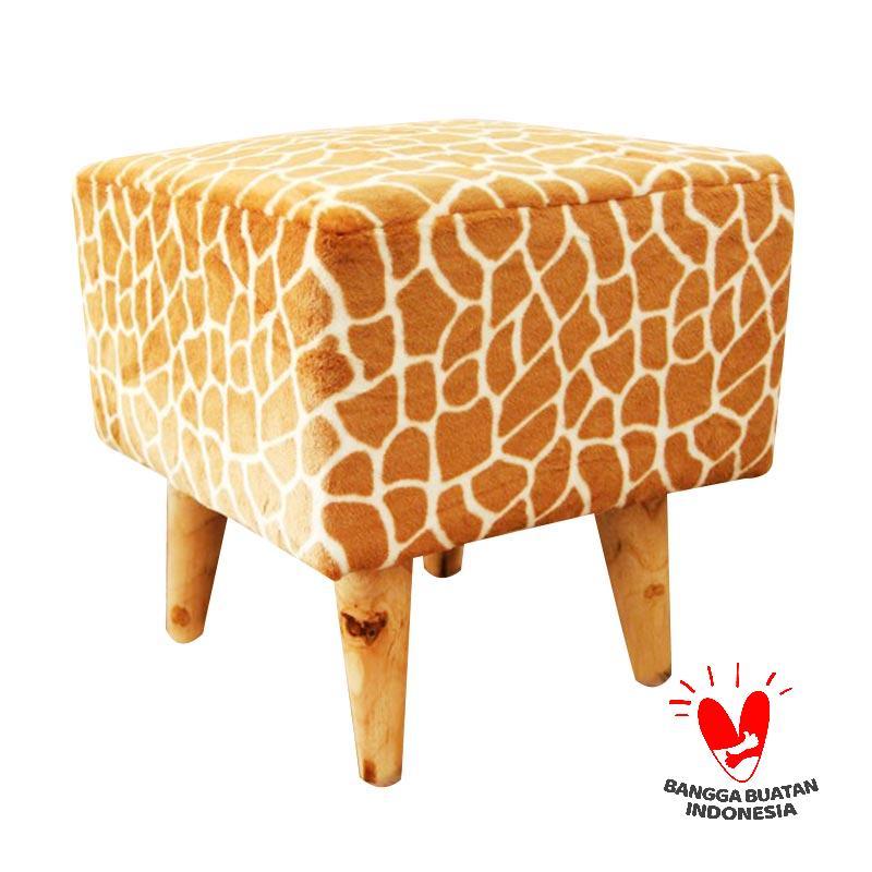 Ayoyoo Giraffe Square Stool - Brown