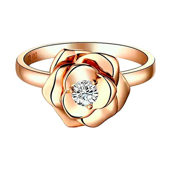 Tiaria Rose Perhiasan Cincin Emas Berlian 18K + Engraved - Rose Gold