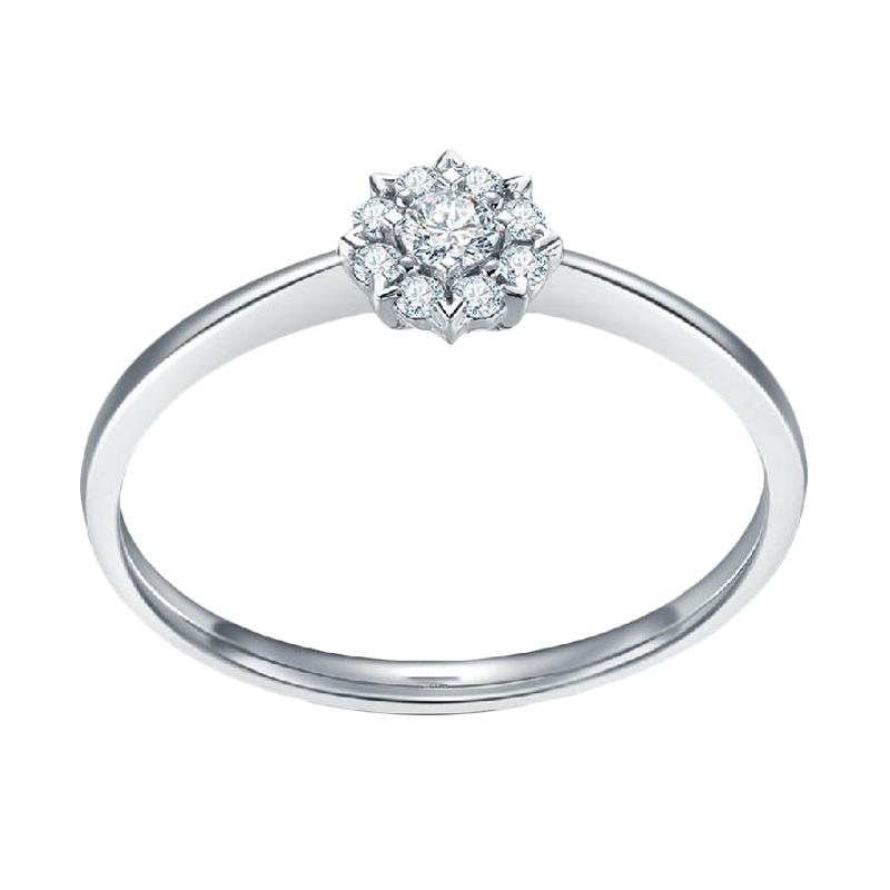 Tiaria Dahlia Diamond Cincin berlian emas Putih [18K]